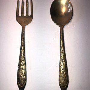 Vintage Large Brass Salad Serving Spoon and Fork set. Rare find.